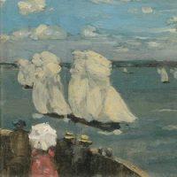 James Wilson Morrice, La régate, v. 1902-1907, huile sur panneau, 23,4 x 32,8 cm. Don de A.K. Prakash, Collection J.W. Morrice, 2015, Musée des beaux-arts du Canada, Ottawa (46630) Photo : NGC / MBAC