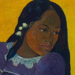 Paul Gauguin, La femme au mango (Vahine no te vi), 1892, huile sur toile, 73 × 45,1 cm. Baltimore Museum of Art. The Cone Collection, créée par Dr Claribel Cone et Mme Etta Cone de Baltimore, Maryland (BMA 1950.213). Photo : Mitro Hood
